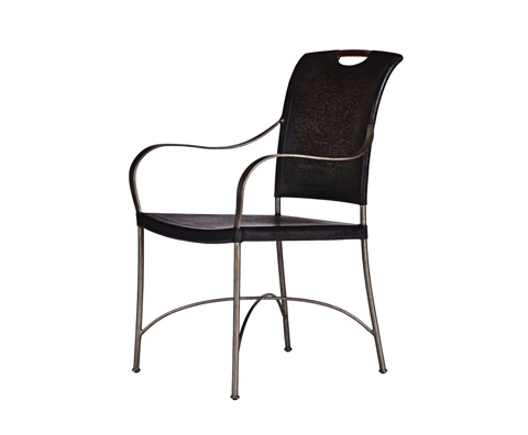 Curate by Artistica Metal Design - Worn Black Canvas and Iron Arm Chair - C404-010