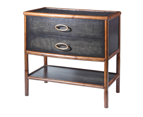 Image of Worn Black Canvas Nightstand