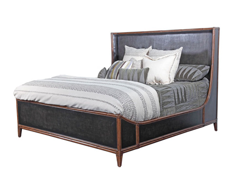 Image of Worn Black Canvas King Bed