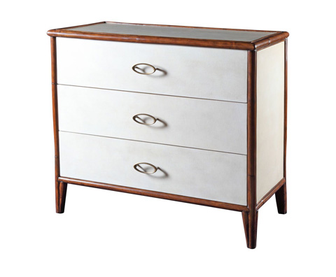 Image of Worn Ivory Canvas Three Drawer Chest