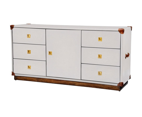 Curate by Artistica Metal Design - Worn Ivory Canvas Martial Widescreen Credenza - C408-420