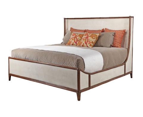 Image of Worn Ivory Canvas King Bed