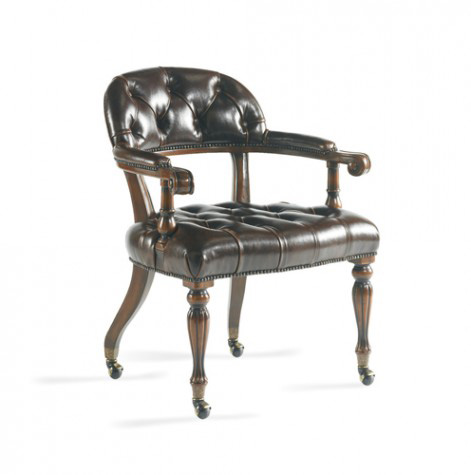 CTH-Sherrill Occasional - Tufted Brown Leather Game Chair - 977-009L