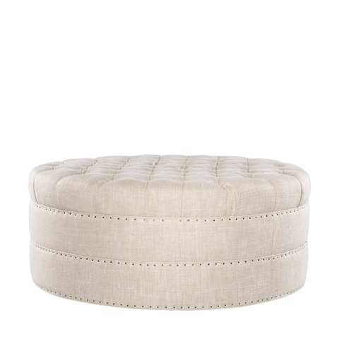 Curations Limited - Round Button Tufted Ottoman - 7801.1107