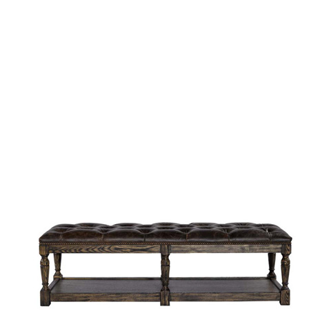 Image of Valencia Leather Tufted Ottoman