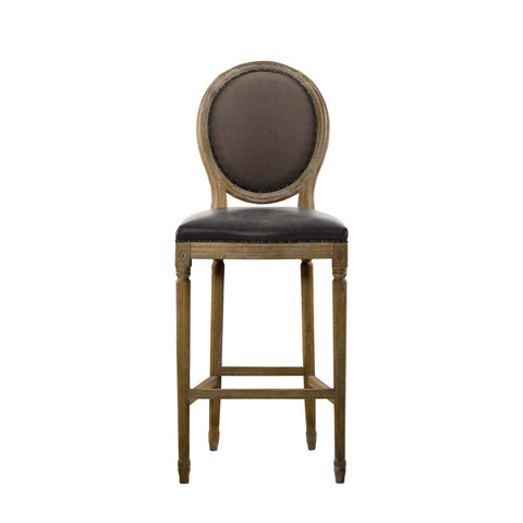 Curations Limited - Glove Leather and Brown Linen High Bar Stool - 8828.2002