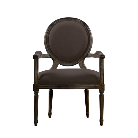 Curations Limited - Brown Vintage Louis Round Arm Chair - 8827.0008.A008
