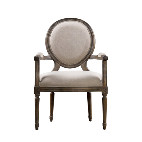 Image of Beige Vintage Louis Round Arm Chair