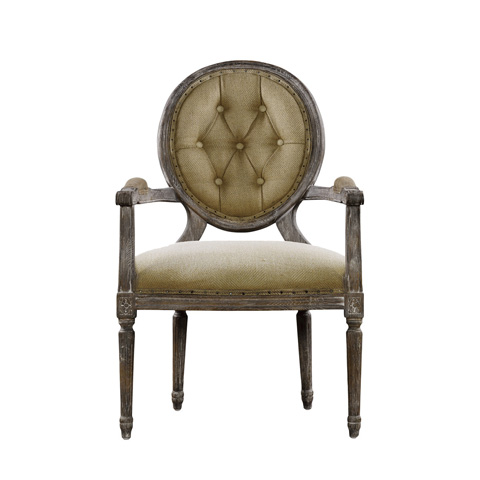 Curations Limited - Vintage Louis Round Button Arm Chair - 8827.0009.H009