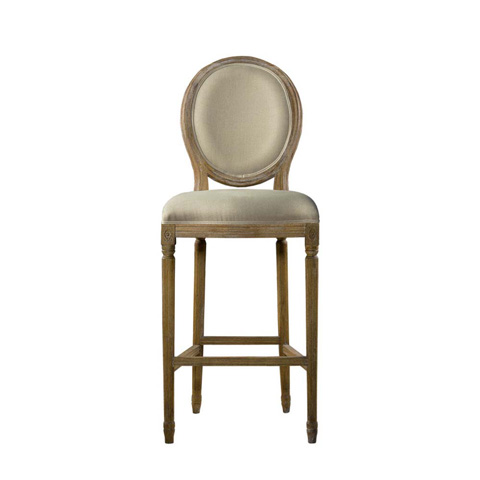 Curations Limited - Beige Vintage Louis Back Counter Stool - 8828.3004.A015