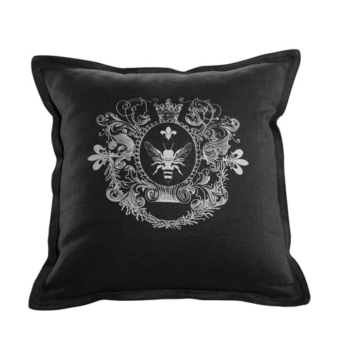 Curations Limited - Black Linen Logo Pillow - 1200.0006