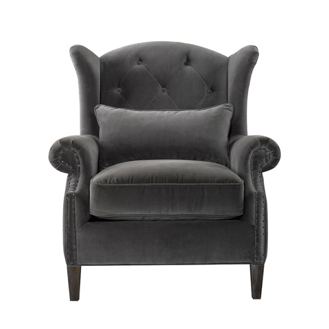 Curations Limited - Lauran Velvet Wing Chair - 7841.0010