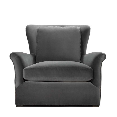 Curations Limited - Winslow Lounge Grey Velvet Chair - 7841.1003.V807