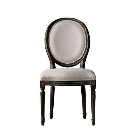 Curations Limited - Vintage Louis Antique Black & Beige Side Chair - 8827.0004
