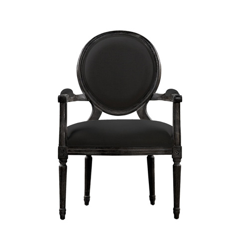 Curations Limited - Vintage Louis Antique Black Arm Chair - 8827.0006