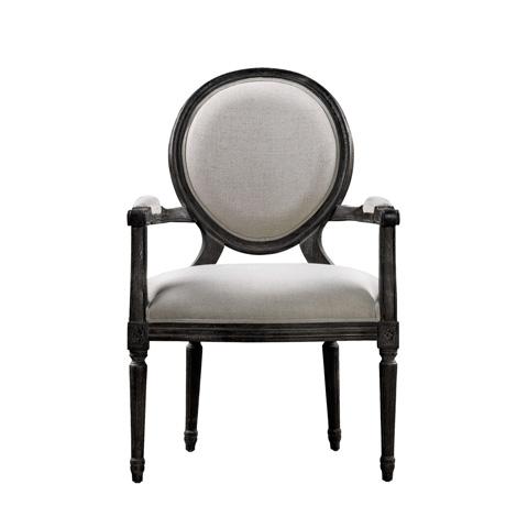 Curations Limited - Vintage Louis Antique Black & Beige Arm Chair - 8827.0007
