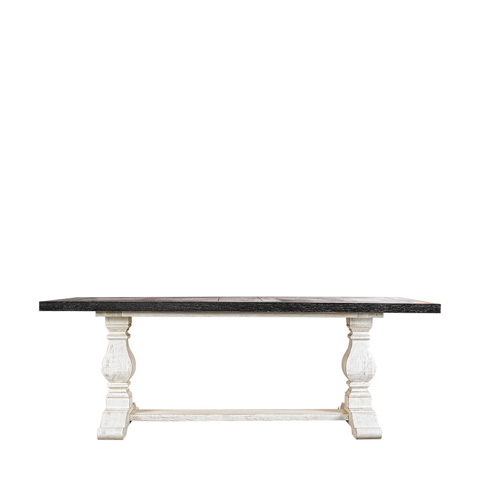 Curations Limited - 84' New Trestle Vintage Black & White Table - 8831.1203.M