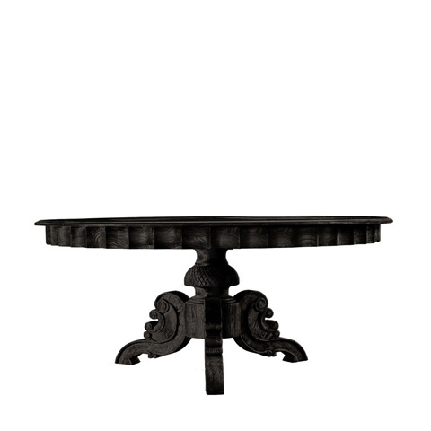 Curations Limited - French Round Antique Black Dining Table - 8831.0001.M.E887