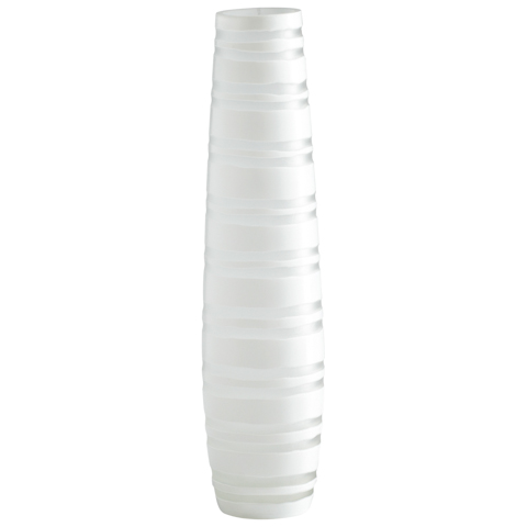 Image of Medium White Matte Stripe Vase