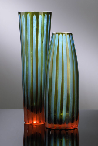 Cyan Designs - Small Cyan And Orange Striped Vase - 01129