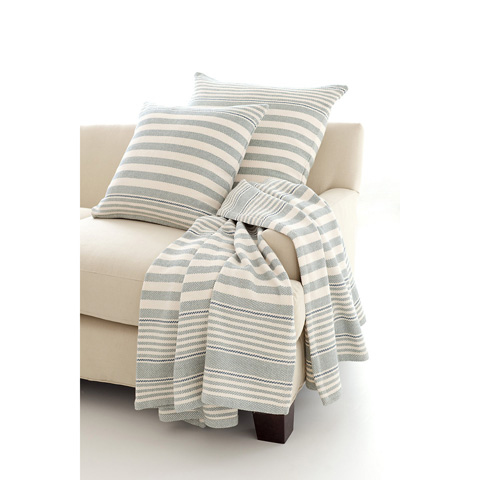 Image of Rugby Stripe Light Blue Woven Throw