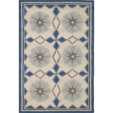 Image of Navy Star Wool Micro Hooked 8x10 Rug