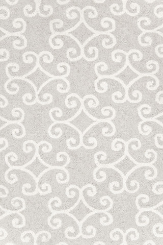 Image of Scroll Platinum Micro Hooked 8x10 Rug