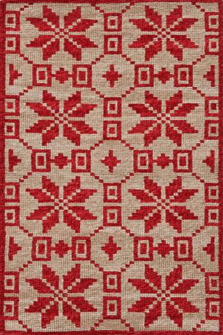 Dash & Albert Rug Company - Nordic Star Crimson Wool Woven 8x10 Rug - RDA338-810