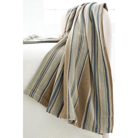 Dash & Albert Rug Company - Blue Heron Stripe Woven Cotton Throw - RP41-THR