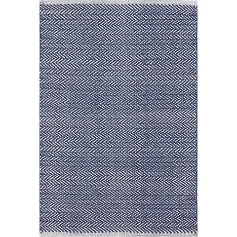 Image of Herringbone Indigo Woven Cotton Rug