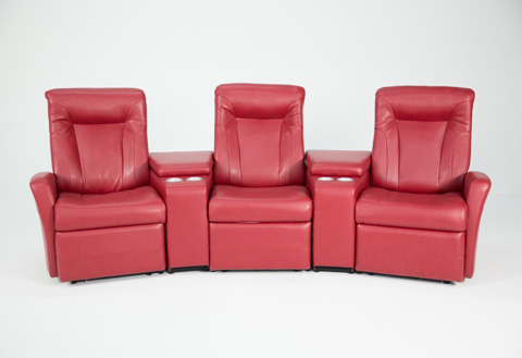 Image of Mod Red Leather Home Theatre Seating