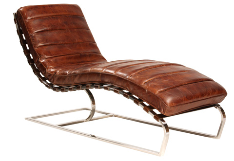 Dovetail Furniture - James Antique Brown Vintage Leather Chaise Lounge - DOV1111