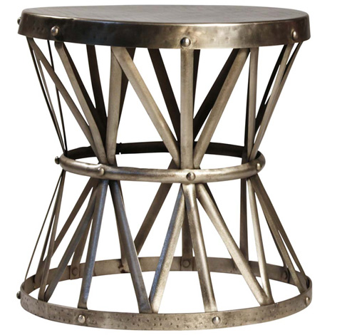 Dovetail Furniture - Antique Nickel Lionel Side Table - AC048N