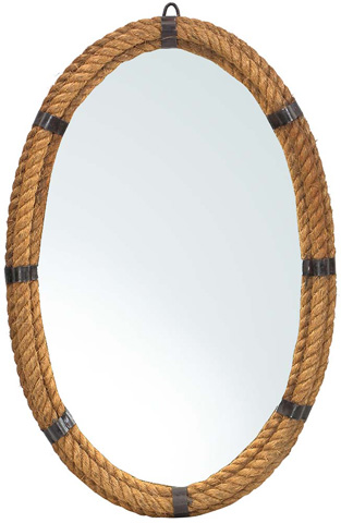 Dovetail Furniture - Steel Mirror with Rope - AL266