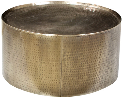 Dovetail Furniture - Hammered Steel Drum Coffee Table - AL325