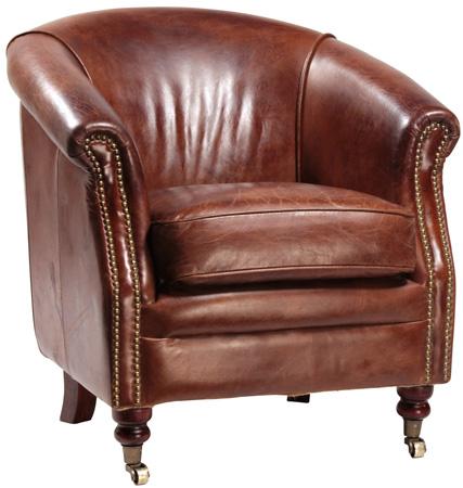 Dovetail Furniture - Antique Brown Clifton Club Chair - DOV1109