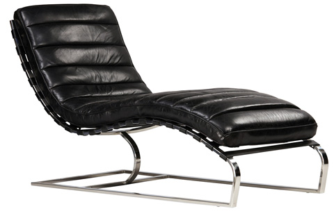Dovetail Furniture - Antique Black James Chaise - DOV1112
