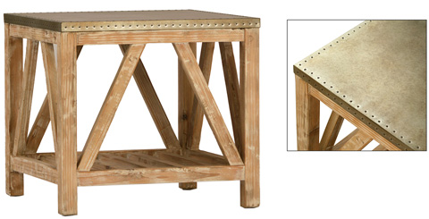 Dovetail Furniture - Clifton Side Table White Washed Pine - DOV3502