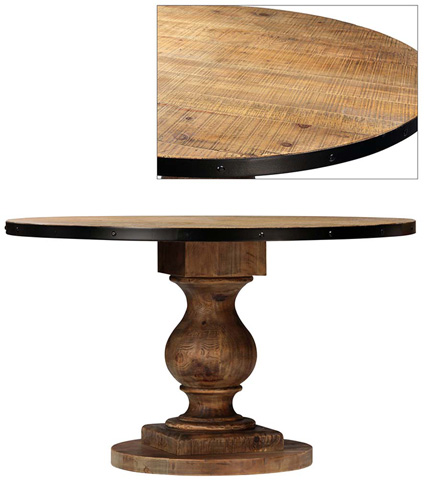 Dovetail Furniture - Emil Round Pedestal Table with Iron Rim - DOV5026