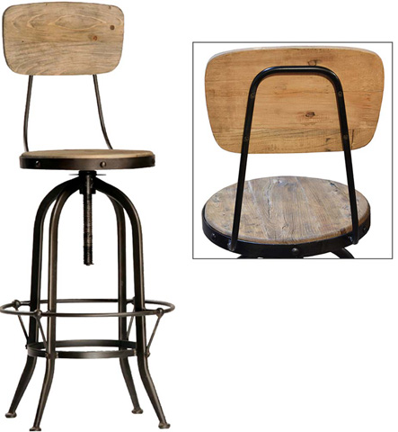 Dovetail Furniture - Ford Bar Stool with Back - DOV596