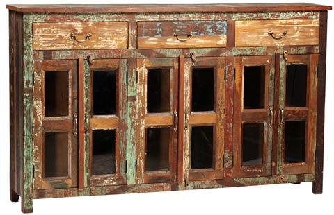 Dovetail Furniture - 3 Drawer Glass Door Sideboard - NE408