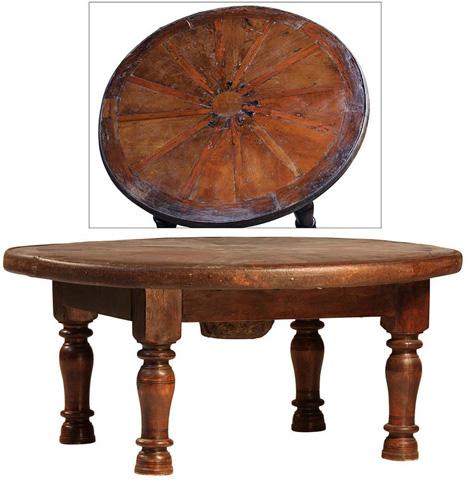Dovetail Furniture - Wood Wheel Coffee Table - SEL009