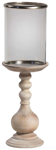 Dovetail Furniture - Wooden Pillar Holder With Glass - DOV8400