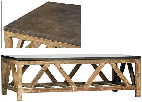 Dovetail Furniture - Coffee Table With Blue Stone Top - DOV874