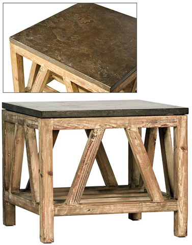 Dovetail Furniture - Side Table With Blue Stone Top - DOV875