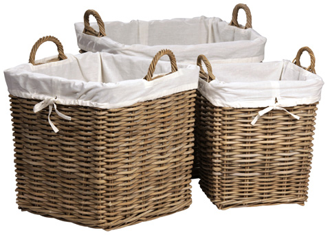 Dovetail Furniture - Square Basket - Set Of Three - DOV7604