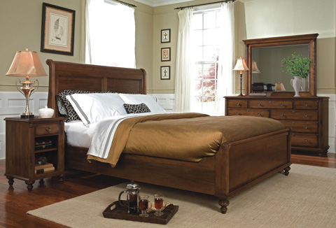 Durham Furniture Inc - King Sleigh Bed with Low Footboard - 980-147B