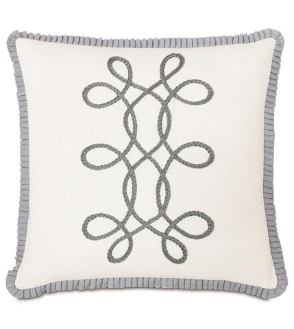 Eastern Accents - Baldwin White With Braid & Ribbon Pillow - EDI-09