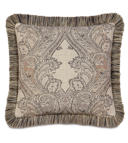 Image of Aiden Oak Pillow with Brush Fringe