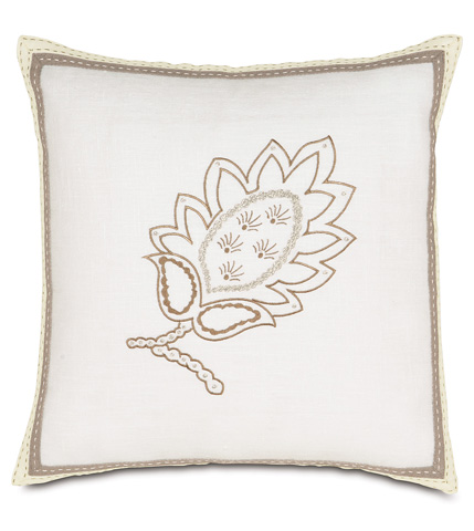 Eastern Accents - Breeze White Embroidered Pillow - AIL-11